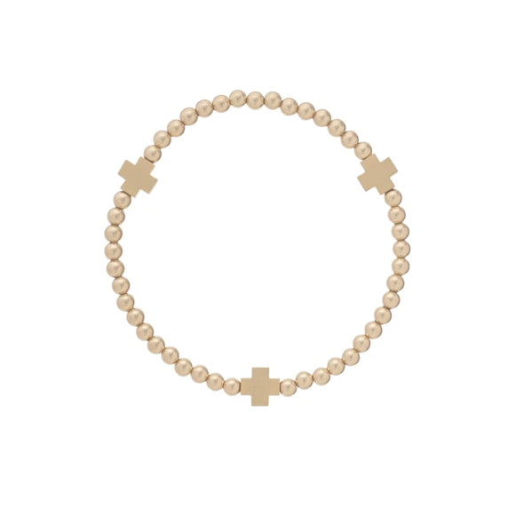 SIGNATURE CROSS MATTE GOLD PATTERN 4MM BEAD BRACELET - GOLD