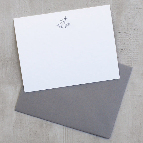 MONOGRAM STATIONERY SET WITH GREY ENVELOPES