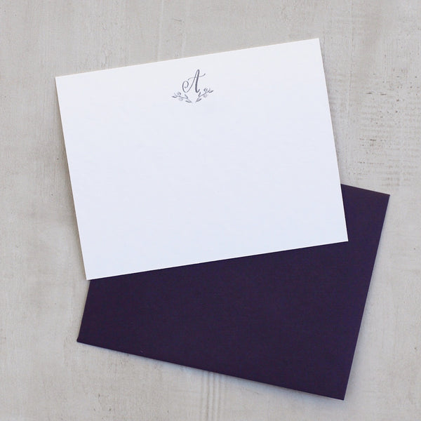 MONOGRAM STATIONERY SET WITH PLUM ENVELOPES