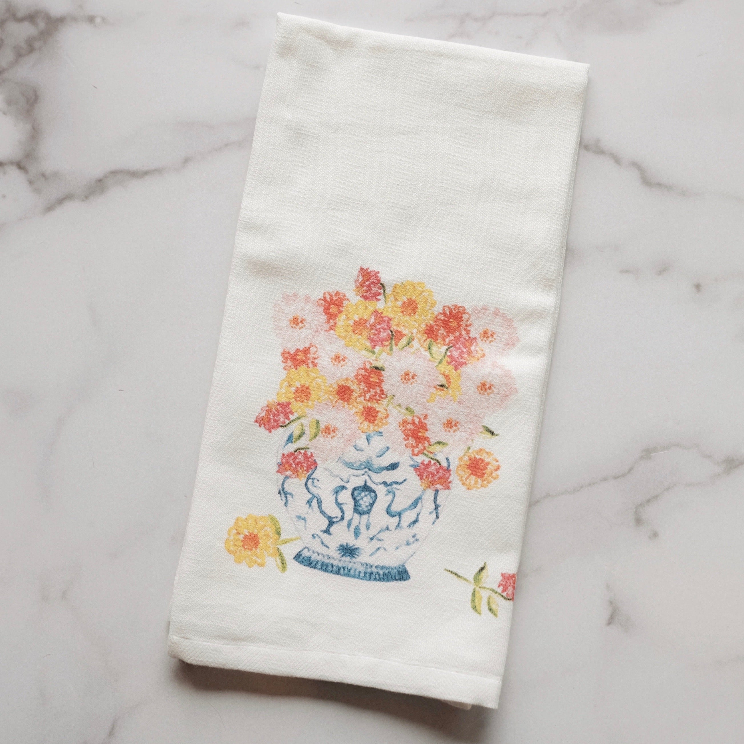 GINGER JAR W/ ZINNIAS TEA TOWEL