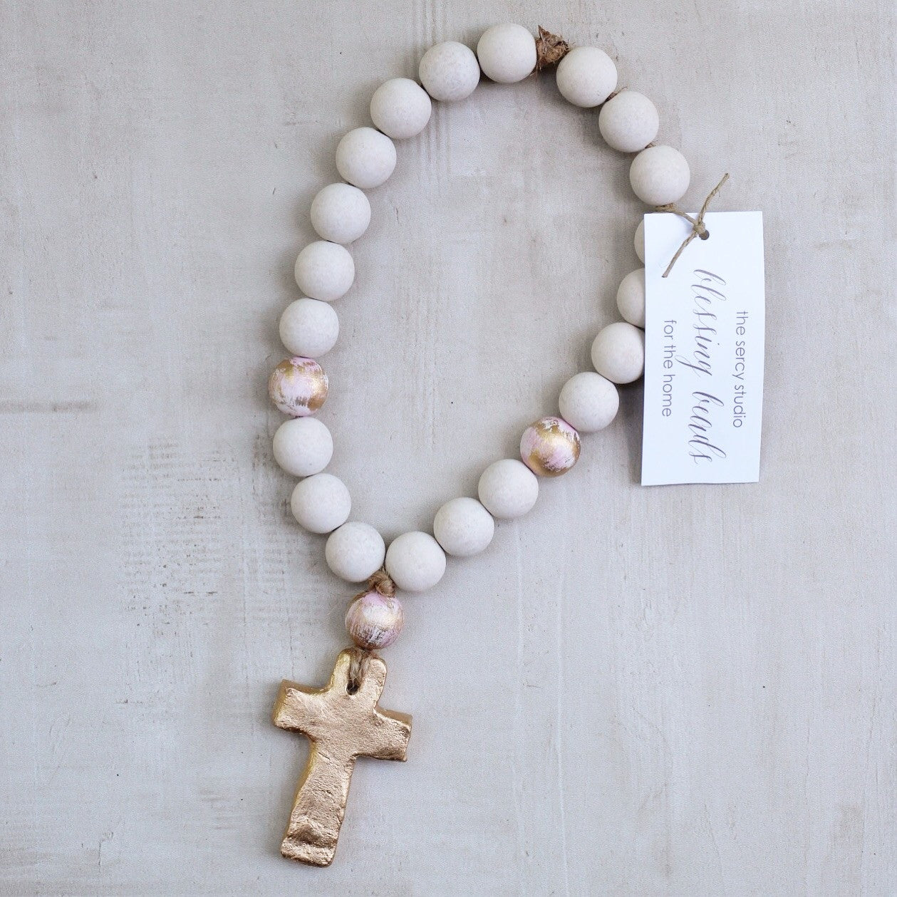 WHITE/PINK SMALL BLESSING BEADS