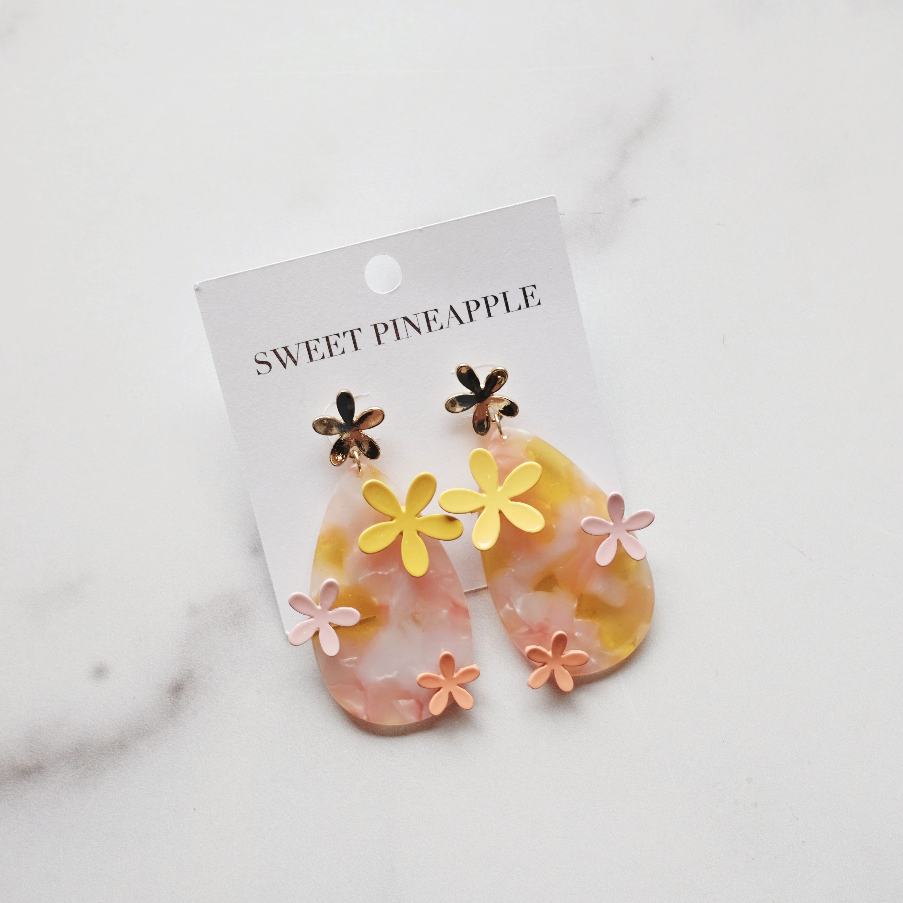 FLOWER ACRYLIC TEARDROP EARRINGS - PINK/MULTI