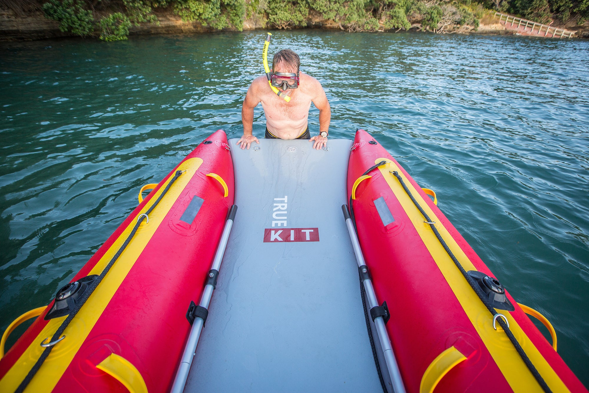 Discovery inflatable catamarans are easy to climb into from the water