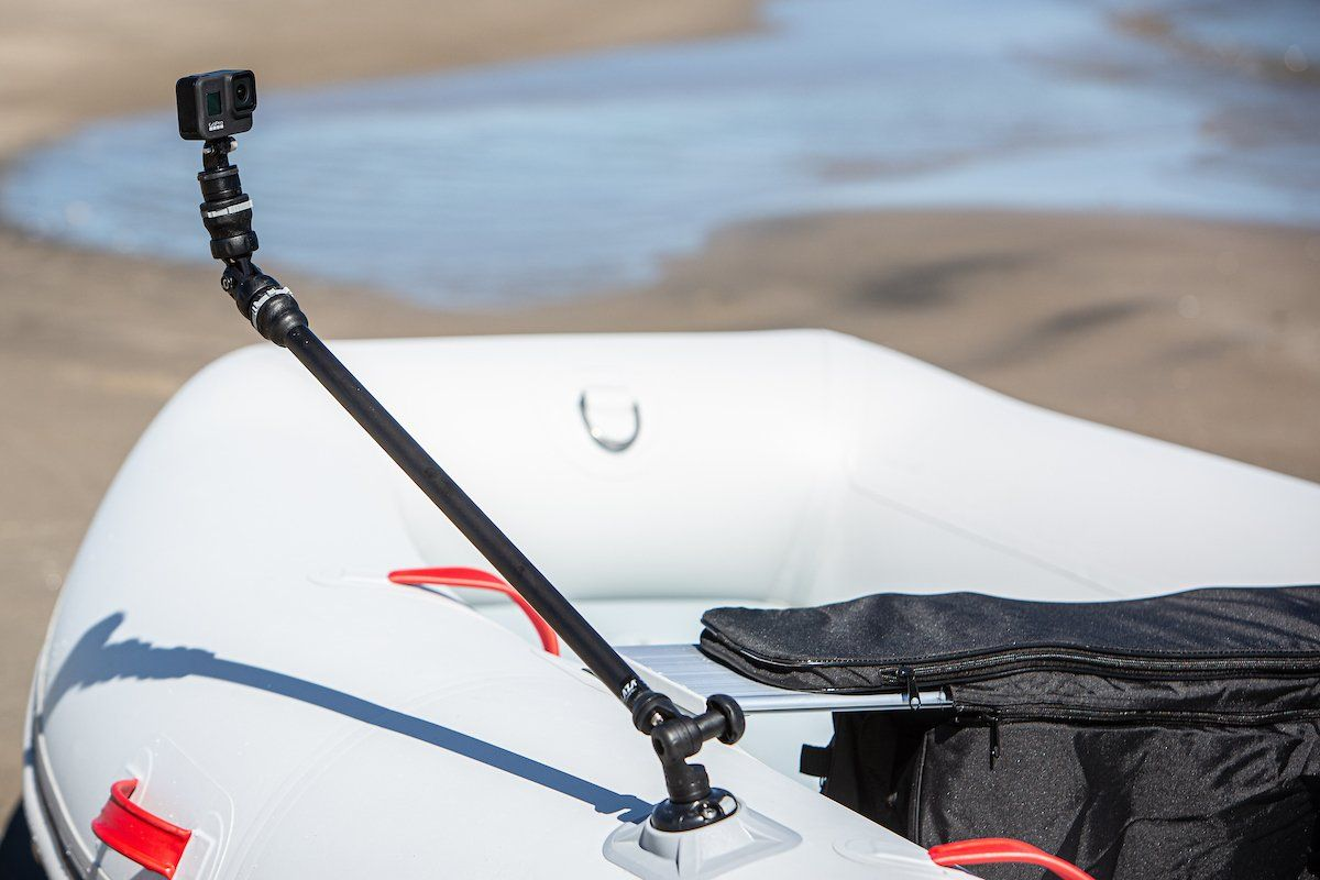 GoPro boom holder will clip straight into the ribport on your True Kit inflatable
