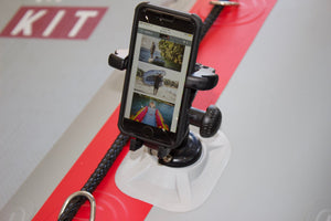 Mobile Phone holder on an inflatable dinghy.  The True Kit has the ribport that holds all Railblaza fittings