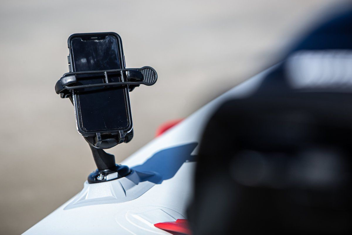 Railblaza Mobile Phone holder clips into the ribport