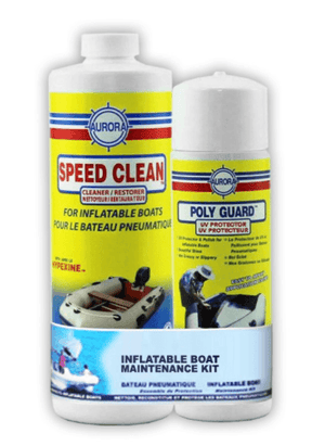 Speed Clean and Polyguard for cleaning and protecting inflatable boats