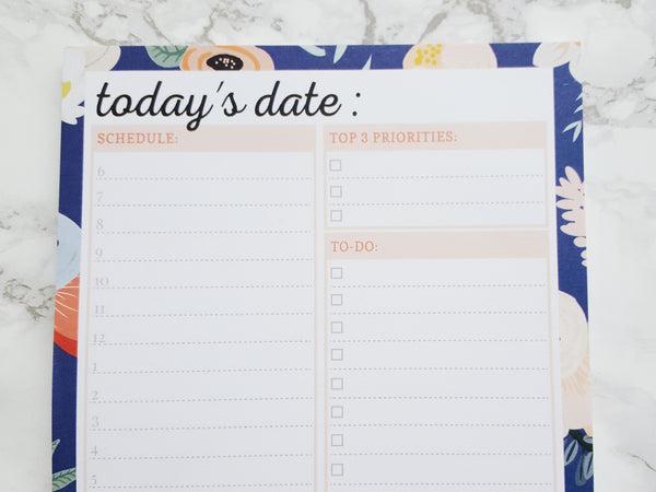 Navy Floral Daily Planner And To-Do List Notepad, A5 with Sticky Back (3-Pack)