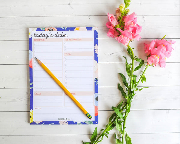 Navy Floral Daily Planner And To-Do List Notepad, A5