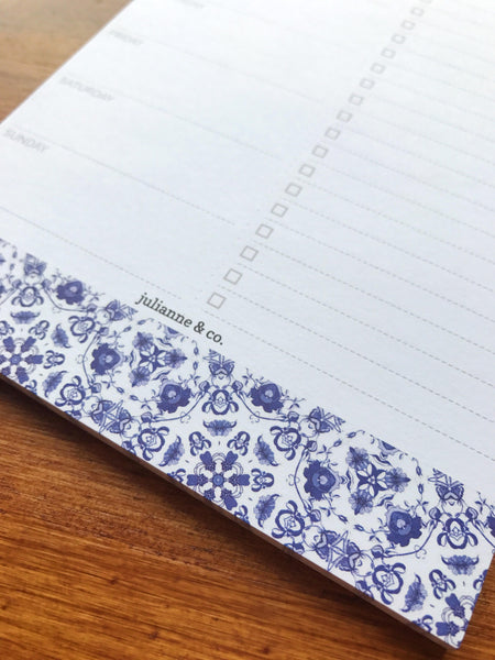 Perforated Meal Planner and Grocery List Pad - Blue China Pattern