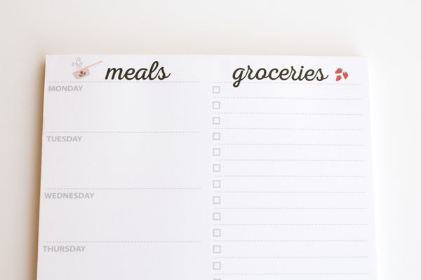 Weekly Magnetic Meal Planner Notepad By Julianne & Co. - Food Planning Organizer And Grocery List Pad, 52 Premium A5 Pages, with Tear Away Perforated Shopping List (Available WITH or WITHOUT a Fridge Magnet)