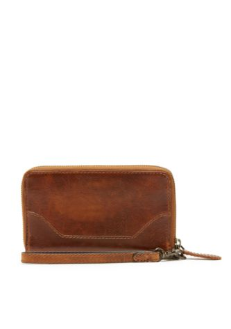 Melissa Zip Phone Wallet in Cognac