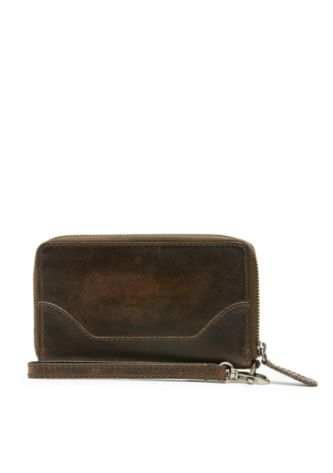 Melissa Zip Phone Wallet in Dark Brown
