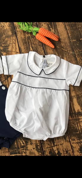White Boy Bubble with Navy Trim