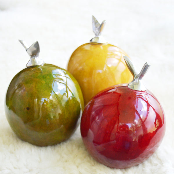 Artificial Fruit Decor with Pewter Leaf
