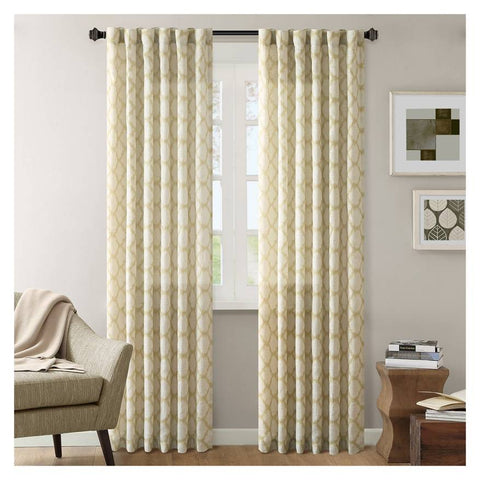Nude Linen Tab Top Curtain with Golden Moroccan Ikat Print