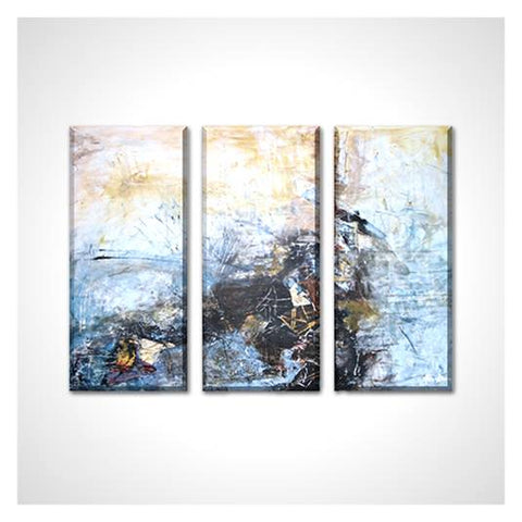 """Contemporary Abstract Landscape"" Rectangle Canvas Giclee Print, Set of 3 Panels"
