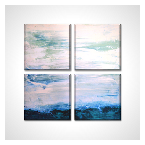 """Seascape Abstract Ocean View"" Painting Square Canvas Giclee Print, Set of 4 Panels"