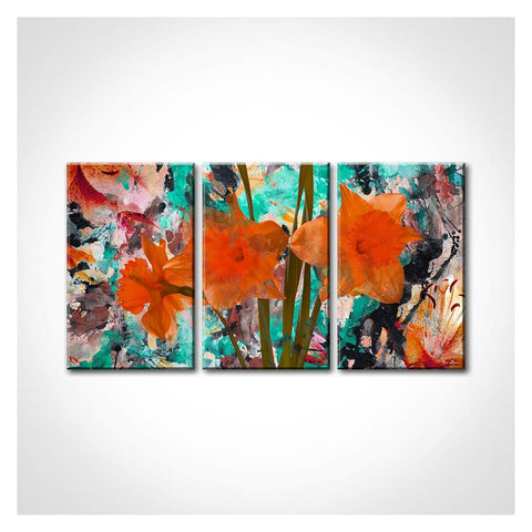 """Wild Orange Flowers"" by Alexis Bueno Print Canvas Wall Art, Set of 3"