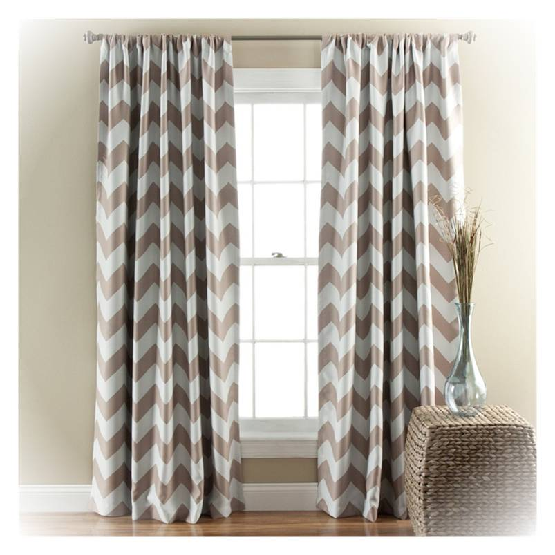 Grey And Taupe Chevron Blackout Curtain Set 2 Panels