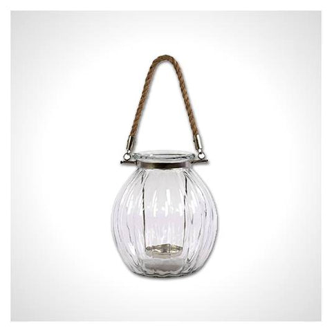 Nautical Glass Candle Lantern with Rope Handle