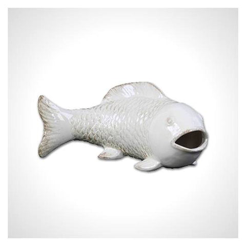 Off White Ceramic Bowfin Fish Figurine