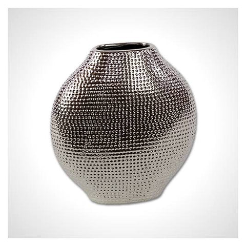Bellied Ceramic Chrome Vase