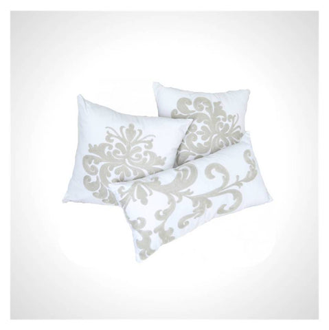 White and Grey Damask Embroidery Throw Pillow Set