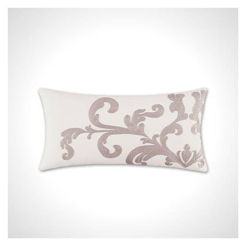 White and Gray Embroidery Lumbar Pillow