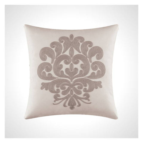 White Cotton Pillow with Grey Damask Embroidery