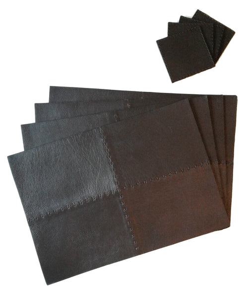 Leather Placemats with Leather Coasters Set of 4