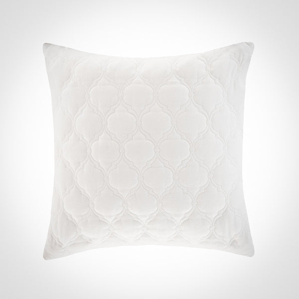 Diamond quilted white sateen pillow by Swift Decor