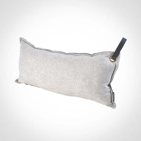 Grey long neck Pillow with leather handle by Swift Decor