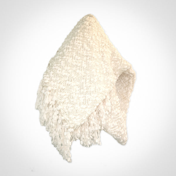 White acrylic chenille Throw by Swift Decor
