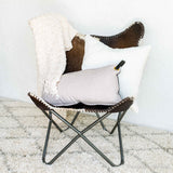 White Velvet Moroccan Pattern Quilted Large Pillow