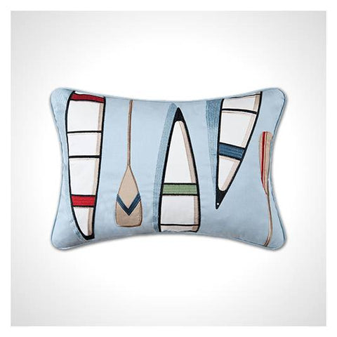 Light Blue Rectangular Pillow with Paddle and Canoe Embroidery