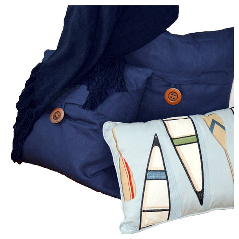 Casual Navy Throw and Pillows Set
