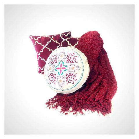 Boho Geometric Moroccan Embroidery Burgundy Throw and Pillow Set