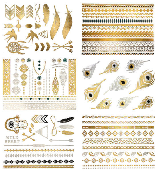 Delila Temporary Metallic Tattoos