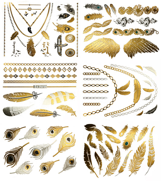 Destiny Feather Metallic Temporary Tattoos