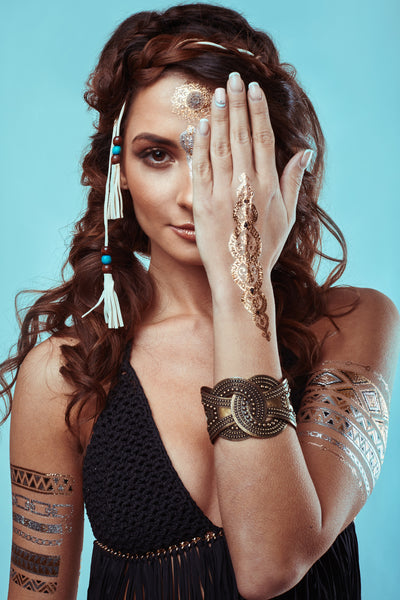 Jewelry Inspired Metallic Tattoos