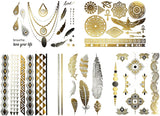 Terra Tattoos Egyptian Temporary Tattoos - 50 Silver Gold Metallic Tattoos