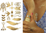 Terra Tattoos Temporary Metallic Tattoos - 75 Boho Gold Tattoos