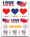 Terra Tattoos Fourth of July Temporary Tattoo Set, 75 Red White Blue Designs for Labor Day Memorial Day Independence Day USA Party, American Flag Stars Peace Love & More 4th of July