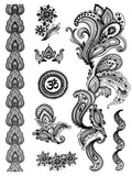 Terra Tattoos Temporary Henna Tattoos - 50 Black Mehndi Temp Tattoos
