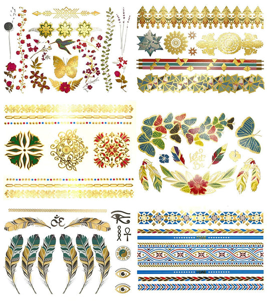 Terra Tattoos 75 Metallic Color Temporary Tattoos