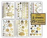 Terra Tattoos Tropical Hawaiian Metallic Tattoos - 75 Gold Silver Temporary Tattoos