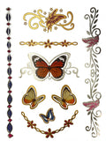 Terra Tattoos Butterfly Temporary Tattoos - 75 Metallic Tattoos Mermaid Flowers