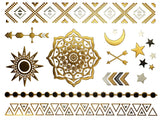 Terra Tattoos Temporary Metallic Tattoos - 75 Gold Tattoos