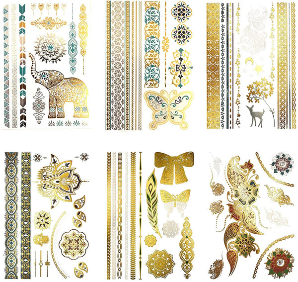 Terra Tattoos Temporary Gold Tattoos - 75 Metallic Tattoos